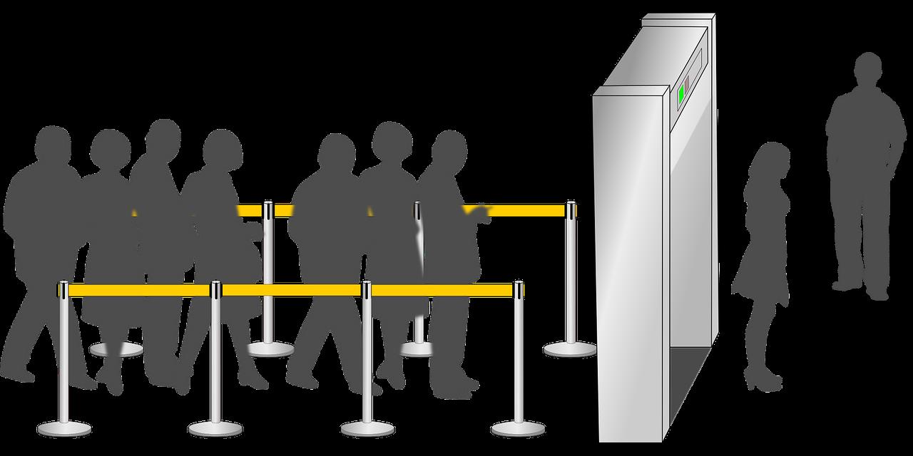 dessin de personnes attendant de passer sous un portique de sécurité